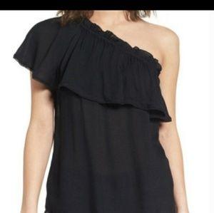 Nwt Hinge one shoulder top blouse ruffle sz 1